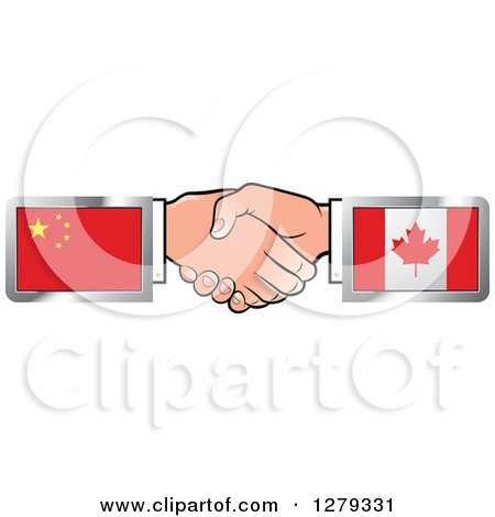 Caucasian Hands Shaking with Chinese and Canadian Flags Posters, Art Prints