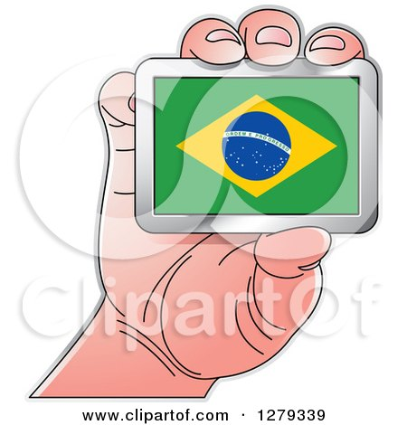 Clipart of a Caucasian Hand Holding a Brazilian Flag - Royalty Free Vector Illustration by Lal Perera