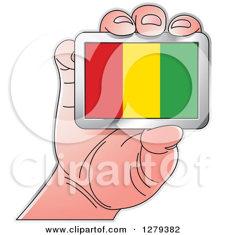 Clipart of a Caucasian Hand Holding a Guinea Flag - Royalty Free Vector Illustration by Lal Perera