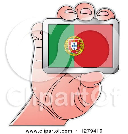 Clipart of a Caucasian Hand Holding a Portugal Flag - Royalty Free Vector Illustration by Lal Perera