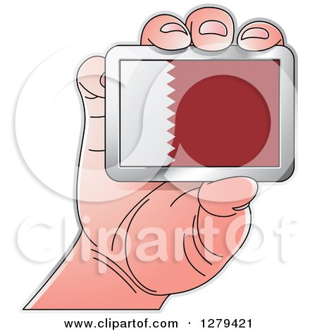 Clipart of a Caucasian Hand Holding a Quatar Flag - Royalty Free Vector Illustration by Lal Perera
