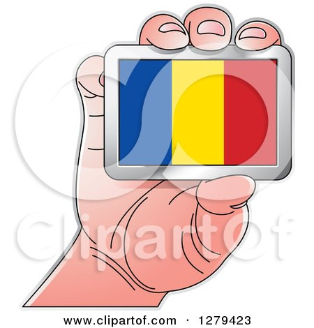 Clipart of a Caucasian Hand Holding a Romania Flag - Royalty Free Vector Illustration by Lal Perera