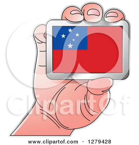 Clipart of a Caucasian Hand Holding a Samoa Flag - Royalty Free Vector Illustration by Lal Perera