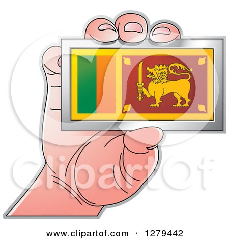 Clipart of a Caucasian Hand Holding a Sri Lanka Flag - Royalty Free Vector Illustration by Lal Perera