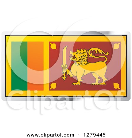 Clipart of a Sri Lanka Flag and Silver Frame Icon - Royalty Free Vector Illustration by Lal Perera