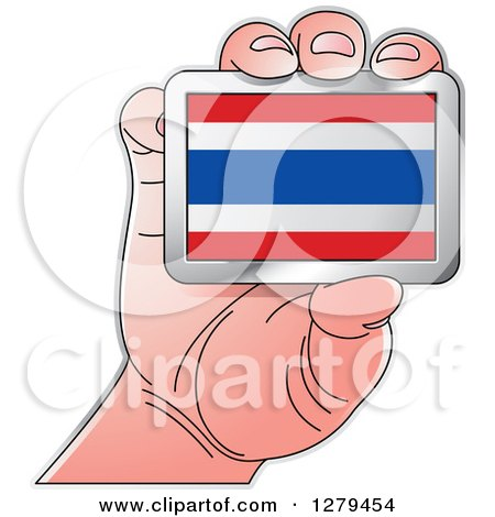 Clipart of a Caucasian Hand Holding a Thailand Flag - Royalty Free Vector Illustration by Lal Perera