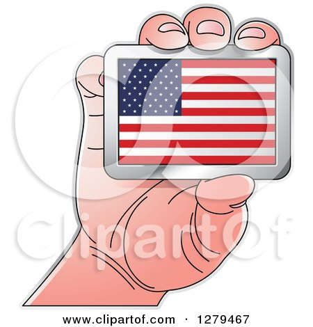 Clipart of a Caucasian Hand Holding an American Flag - Royalty Free Vector Illustration by Lal Perera