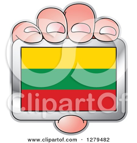 Clipart of a Caucasian Hand Holding a Lithuania Flag - Royalty Free Vector Illustration by Lal Perera