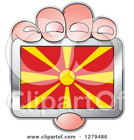 Clipart of a Caucasian Hand Holding a Macedonia Flag - Royalty Free Vector Illustration by Lal Perera