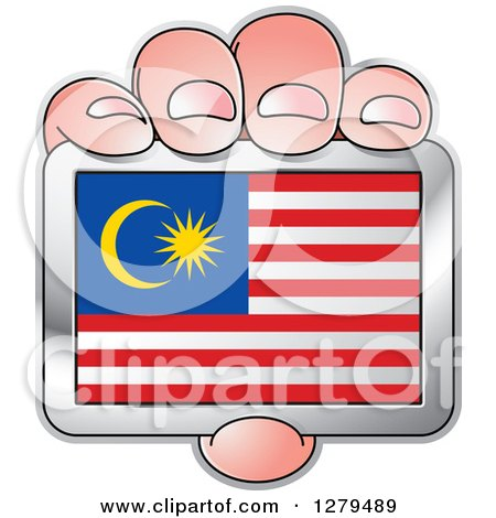 Clipart of a Caucasian Hand Holding a Malaysia Flag - Royalty Free Vector Illustration by Lal Perera