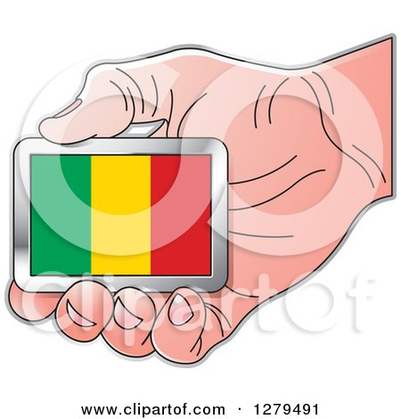 Clipart of a Caucasian Hand Holding a Mali Flag - Royalty Free Vector Illustration by Lal Perera