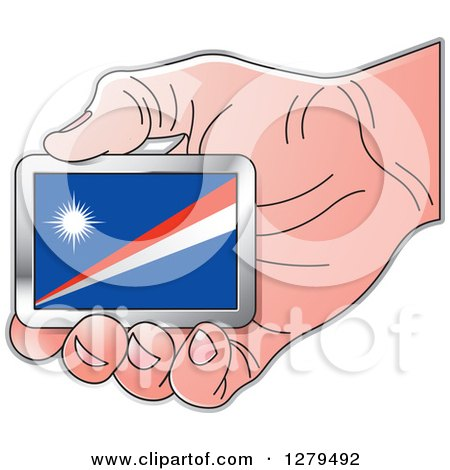 Clipart of a Caucasian Hand Holding a Marshall Island Flag - Royalty Free Vector Illustration by Lal Perera