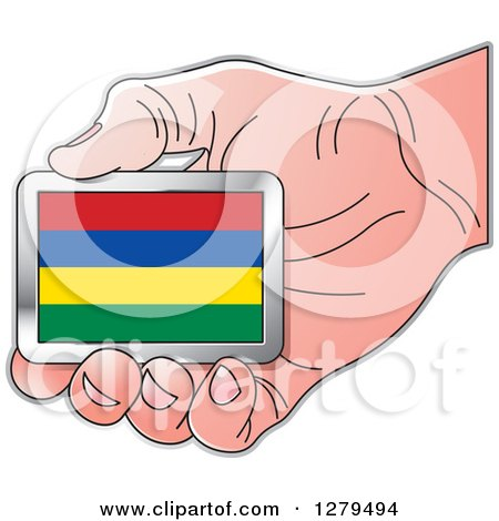 Clipart of a Caucasian Hand Holding a Mauritius Flag - Royalty Free Vector Illustration by Lal Perera