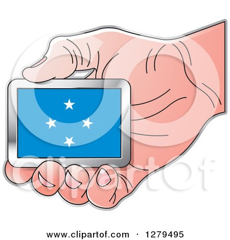 Clipart of a Caucasian Hand Holding a Micronesia Flag - Royalty Free Vector Illustration by Lal Perera
