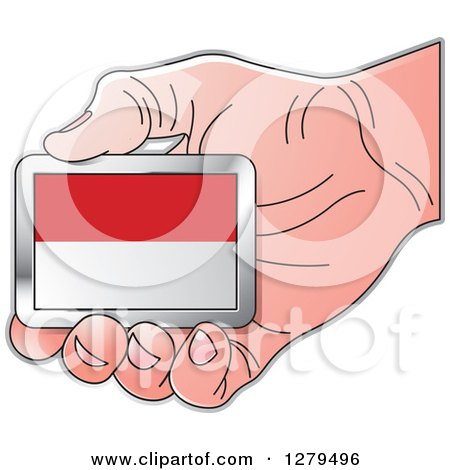 Clipart of a Caucasian Hand Holding a Monaco Flag - Royalty Free Vector Illustration by Lal Perera