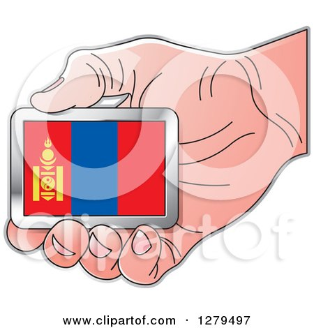 Clipart of a Caucasian Hand Holding a Mongolia Flag - Royalty Free Vector Illustration by Lal Perera