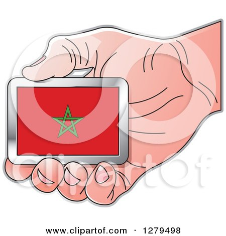 Clipart of a Caucasian Hand Holding a Morocco Flag - Royalty Free Vector Illustration by Lal Perera