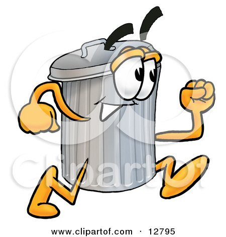 Clipart Picture of a Garbage Can Mascot Cartoon Character Running by Toons4Biz