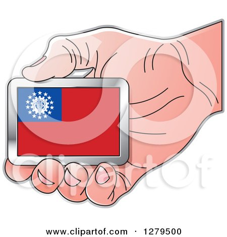 Clipart of a Caucasian Hand Holding a Myanmar Flag - Royalty Free Vector Illustration by Lal Perera