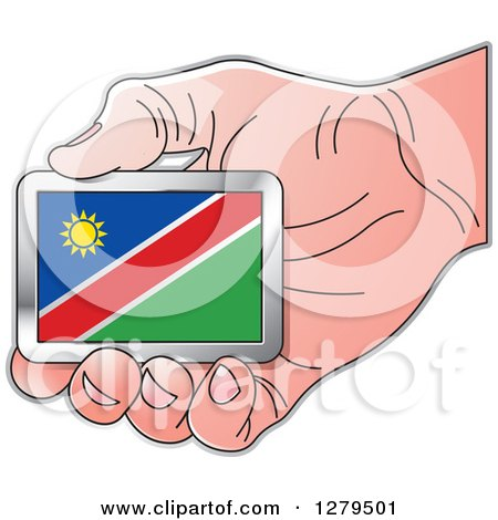 Clipart of a Caucasian Hand Holding a Namibia Flag - Royalty Free Vector Illustration by Lal Perera