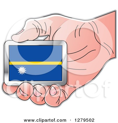 Clipart of a Caucasian Hand Holding a Nauru Flag - Royalty Free Vector Illustration by Lal Perera