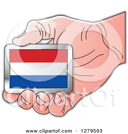 Clipart of a Caucasian Hand Holding a Netherlands Flag - Royalty Free Vector Illustration by Lal Perera