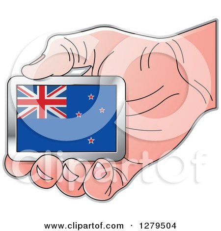 Clipart of a Caucasian Hand Holding a New Zealand Flag - Royalty Free Vector Illustration by Lal Perera