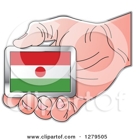 Clipart of a Caucasian Hand Holding a Niger Flag - Royalty Free Vector Illustration by Lal Perera