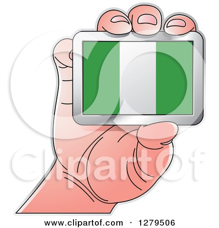 Clipart of a Caucasian Hand Holding a Nigeria Flag - Royalty Free Vector Illustration by Lal Perera