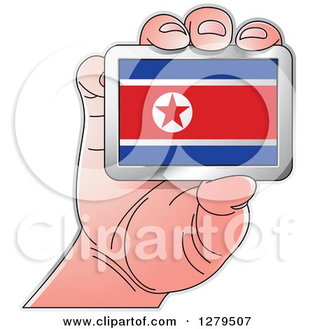 Clipart of a Caucasian Hand Holding a North Korean Flag - Royalty Free Vector Illustration by Lal Perera