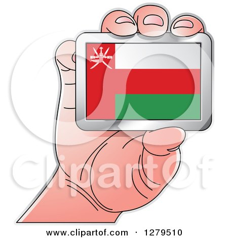 Clipart of a Caucasian Hand Holding an Oman Flag - Royalty Free Vector Illustration by Lal Perera