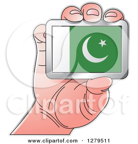 Clipart of a Caucasian Hand Holding a Pakistani Flag - Royalty Free Vector Illustration by Lal Perera