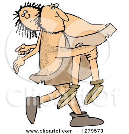 Clipart of a Hairy Caveman Carrying a Woman over His Shoulder - Royalty Free Vector Illustration by djart