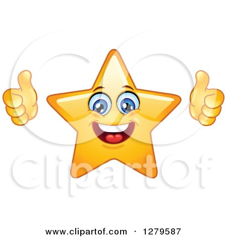 Clipart of a Pleased Happy Yellow Star Character Giving Two Thumbs up - Royalty Free Vector Illustration by yayayoyo