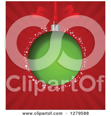 Clipart of a Green Christmas Bauble and Bow Suspended over Red Rays and Sparkles - Royalty Free Vector Illustration by Pushkin