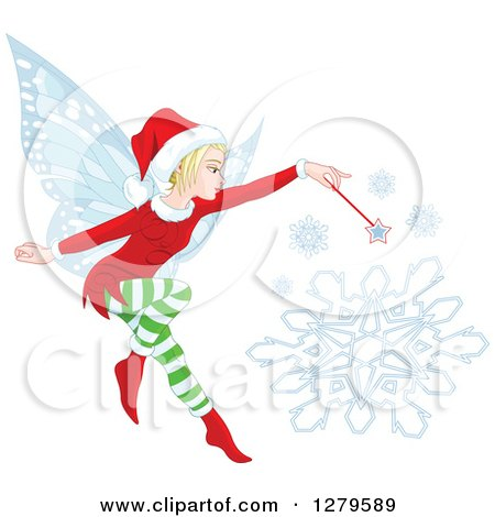 Clipart of a Blond Female Christmas Fairy Making a Snowflake - Royalty Free Vector Illustration by Pushkin
