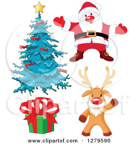 Clipart of a Christmas Tree, Santa Claus, Gift and Waving Reindeer - Royalty Free Vector Illustration by Pushkin