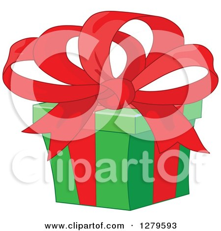 Clipart of a Green Christmas Gift with a Big Red Bow - Royalty Free Vector Illustration by Pushkin