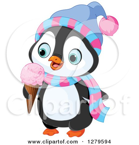 Clipart of a Cute Winter Penguin Wearing a Hat and Scarf and Eating a Waffle Ice Cream Cone - Royalty Free Vector Illustration by Pushkin