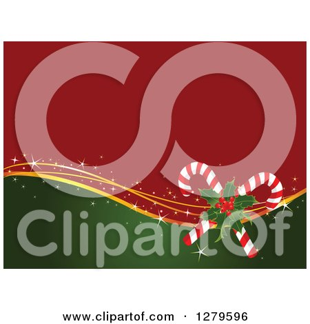 Clipart Of A Red And Green Christmas Background With Gold Waves Holly And Candy Canes Royalty Free Vector Illustration