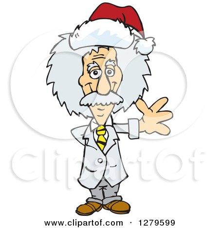 Clipart of a Friendly Waving Scientist Albert Einstein Wearing a Christmas Santa Hat - Royalty Free Vector Illustration by Dennis Holmes Designs