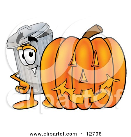 Clipart Picture of a Garbage Can Mascot Cartoon Character With a Carved Halloween Pumpkin by Toons4Biz