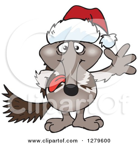 Clipart of a Friendly Waving Anteater Wearing a Christmas Santa Hat - Royalty Free Vector Illustration by Dennis Holmes Designs