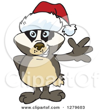Clipart of a Friendly Waving Honey Badger Wearing a Christmas Santa Hat - Royalty Free Vector Illustration by Dennis Holmes Designs