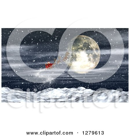 Clipart of 3d Santa Flying His Magic Sleigh over a Full Moon and Snowy Mountains - Royalty Free Illustration by KJ Pargeter