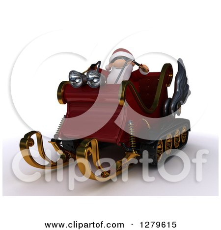 Clipart of a 3d Christmas Sleigh with Santa Holding Reins, on Shaded White - Royalty Free Illustration by KJ Pargeter