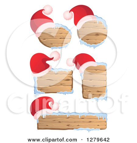 Clipart of Santa Hats on Wooden Christmas Signs with Snow - Royalty Free Vector Illustration by visekart