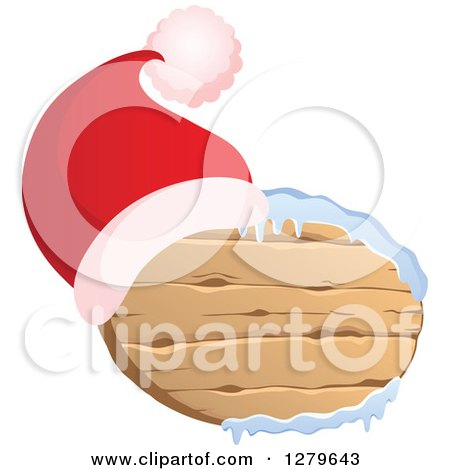 Clipart of a Santa Hat on an Oval Wooden Christmas Sign with Snow - Royalty Free Vector Illustration by visekart