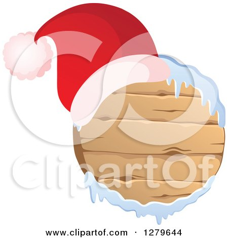 Clipart of a Santa Hat on a Round Wooden Christmas Sign with Snow - Royalty Free Vector Illustration by visekart