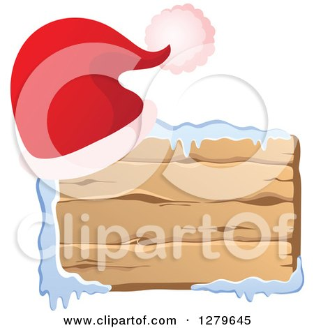 Clipart of a Santa Hat on a Horizontal Wooden Christmas Sign with Snow - Royalty Free Vector Illustration by visekart